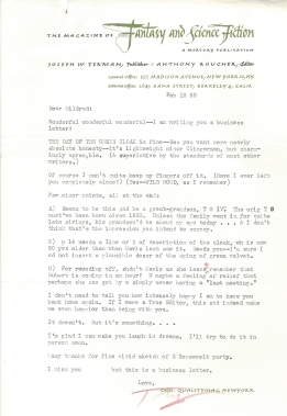 Anthony Boucher letter - 1958