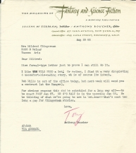 Tony Boucher letter - 1955
